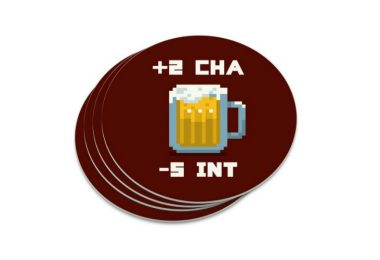 8-bit Charisma Intellect Beer Circle Coasters