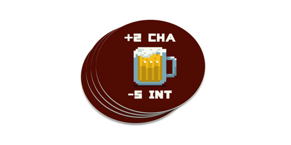 8-bit Charisma Intellect Beer Circle Coasters