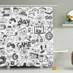 Polyester Gaming Shower Curtain | by Ambesonne
