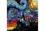 Hogwarts Starry Night Painting Print