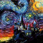 """van Gogh Never Saw Hogwarts"" Starry Night Hybrid Painting Print"