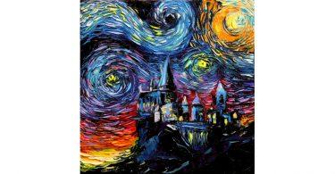 Hogwarts Starry Night Painting Print