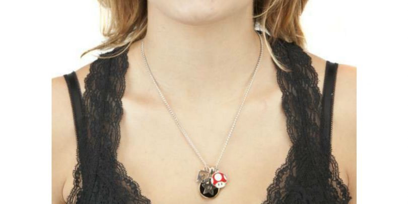 Girl Wearing Superr Mario Charm Necklace