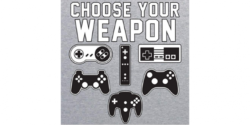 Choose Your Weapon Gaming Shirt Print 1000x500