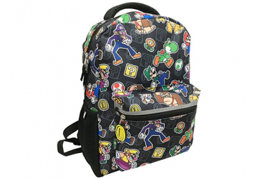 Nintendo back pack with coin zipper --mario-luigi-waluigi-wario-toad-yoshi