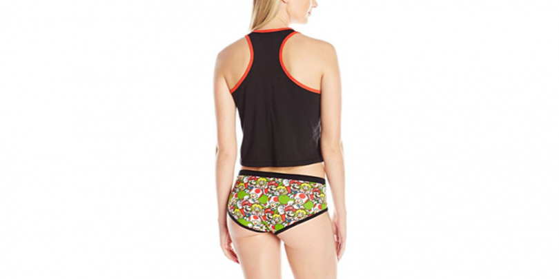 Womens Super Mario Crop Top Underwear Set Back