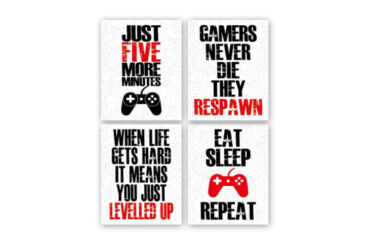 Funny_Game_Art_Print_Inspirational_Words_Quote_Poster_Set_of_4_Canvas_Gaming_Wall_Art