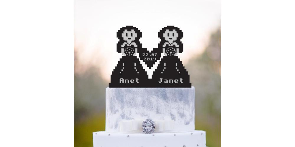 8-Bit-Wedding-Girls-Cake-Topper