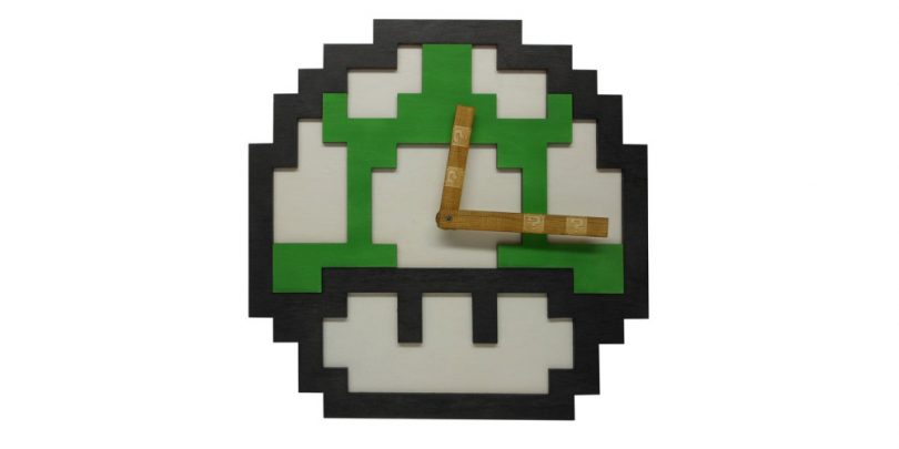8-bit-one-up-mushroom-clock-wall-art