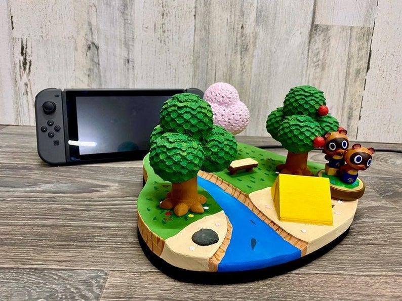 Animal_Crossing_Island_Nintendo_Switch_Dock_3D_Print_New Horizons