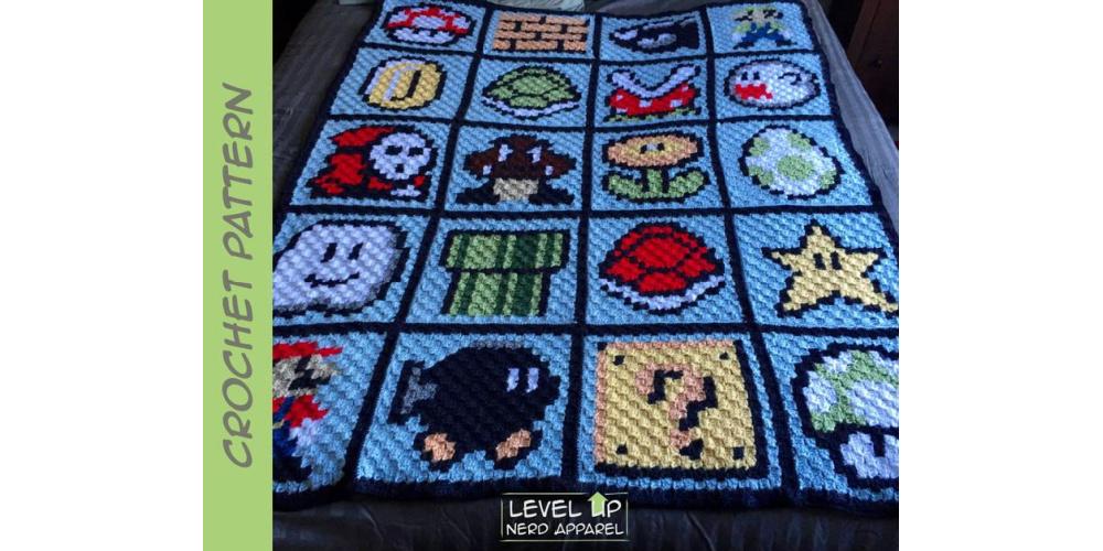Super_Mario_Retro_Video_Game_Crochet_Blanket