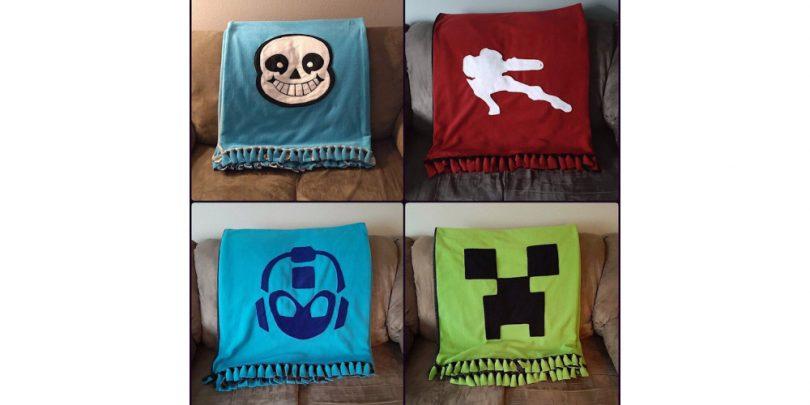 Video_Game_Fleece_Blanket_Mega_Man_Metroid_Undertale_Undertale